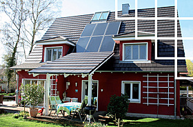 Solar system, collector, single-family house