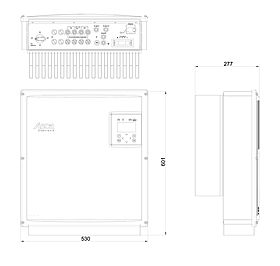 Technical drawing: StecaGrid 20000 / 23000 / 40000 / 46000 3ph For universal use