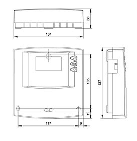 Technical drawing: Steca TR 0201 2 inputs, 1 output