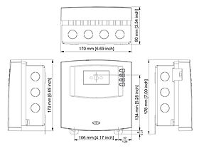 Technical drawing: Steca TR 0603mc U 6 inputs, 3 outputs