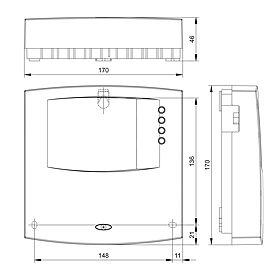 Technische Zeichnung: Steca TH A603 MS Heizkreisregler (Slave)