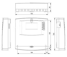 Technical drawing: Steca TR 0603mc+ 6 inputs, 3 outputs