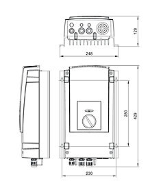 Technical drawing: Stecamat 820 Processor-controlled charger for lead-acid batteries