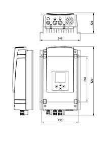 Technical drawing: Stecamat 821 Processor-controlled charger for lead-acid batteries