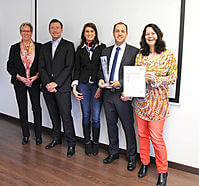 Presentation of the supplier award: from left to right:  Carla Strahlendorff (TTI), Carl Freudhoefer, Sabrina Happ (Steca), Silvio Barci, Karina Budny (TTI)