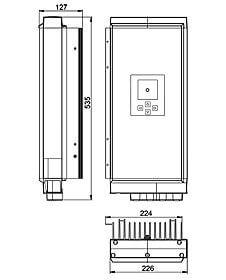 Technische Zeichnung: Stecamat 861 ES Prozessorgeregeltes Lade- / Entladegerät für Bleibatterien