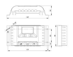 Technical drawing: Steca PR 1010, 1515, 2020, 3030