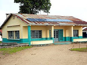 Solar electronics, PV off grid, hospital, roof mounted system, Africa, Democratic Republic of the Congo, Popokabaka